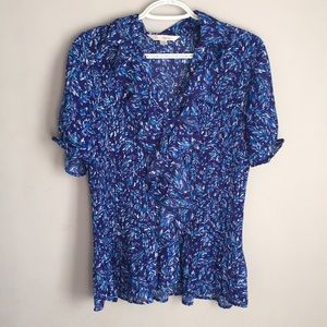 Size 14 blue button up blouse stretchy